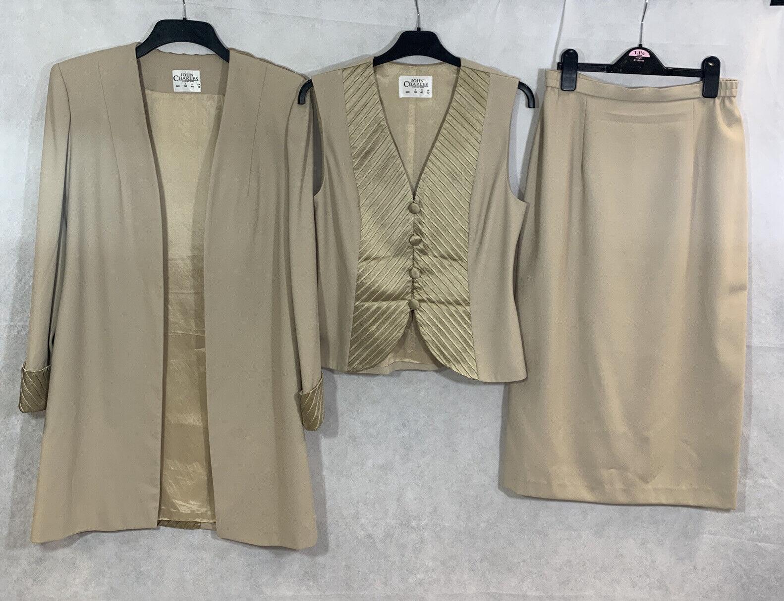 Women's John Charles Golden 3 Piece Occasion Skirt, Waistcoat, Jacket- Size 12