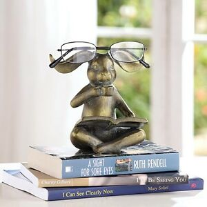 Figurines Exquisite Traditional Embroidery Art Reading Rabbit Bunny Eyeglass Stand,5.5''h