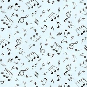 Music-Notes-Soft-Aqua-Blue-Elizabeth-039-s-Studio-100-Cotton-Fabric-by-the-yard