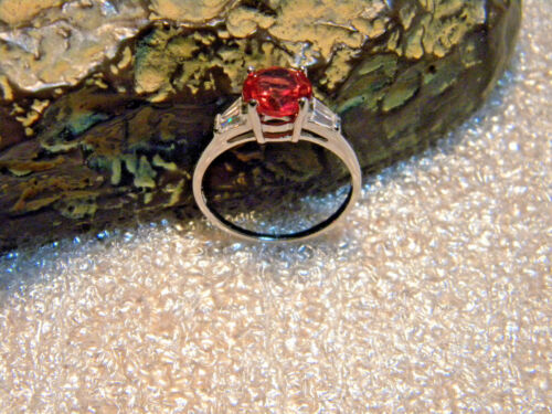 2.45 Ct VVS1 Red//Orange Padparadscha Sapphire//Accents .925 Silver Ring Size US7