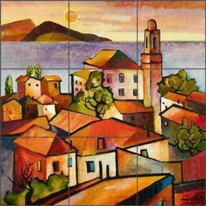 Mediterranean-Tile-Backsplash-Cullar-Ceramic-Mural-Village-Landscape-Art-WC11