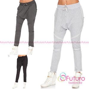 Para Mujer Sport Holgados Haren Pantalones Entrepierna Colapso Bottoms Hip Hop Pantalones Ft3007 Ebay