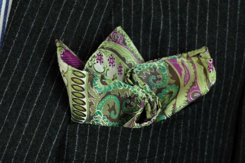 Galapagos Lime Pink Silk $75 New Lord R Colton Masterworks Pocket Square