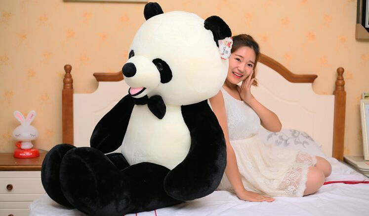 Huge lovely plush panda toy big high quality bow panda doll gift about140cm