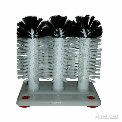 Glass Cleaning Brush Washer Triple Head with Grey Base Coarser Bristles Glasses