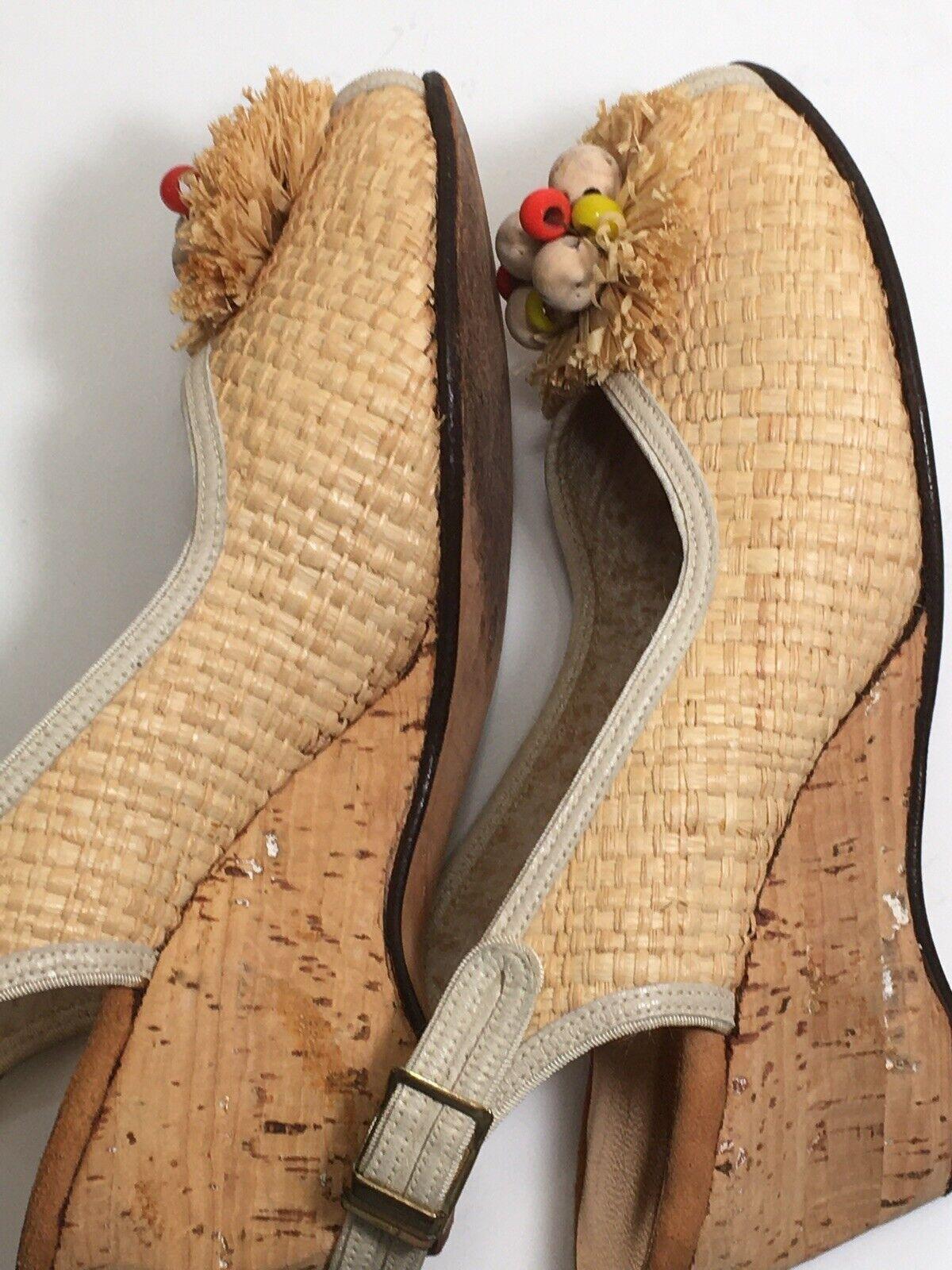 Vintage 40s Shoes Platform CORK Wedge Sandals Str… - image 7