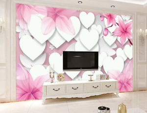 3D Heart Shape Lily 85 Wall Paper Murals Wall Print Wall Wallpaper Mural AU Kyra
