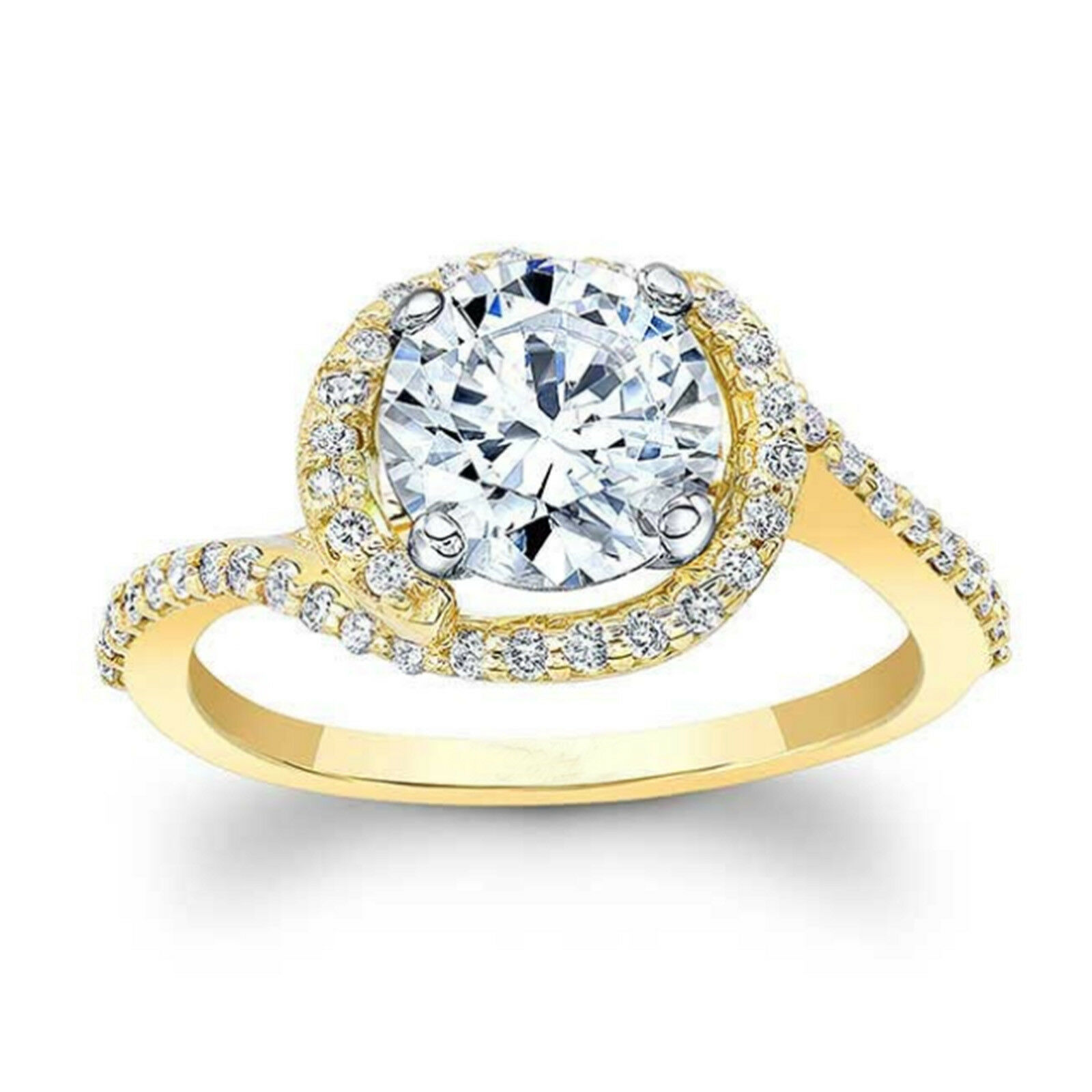 1.28 Ct Moissanite Wedding Hallmarked 14k Yellow gold Solitaire Engagement Ring