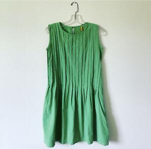 Medium-FARM-RIO-Green-Pleated-Cotton-Casual-Dress