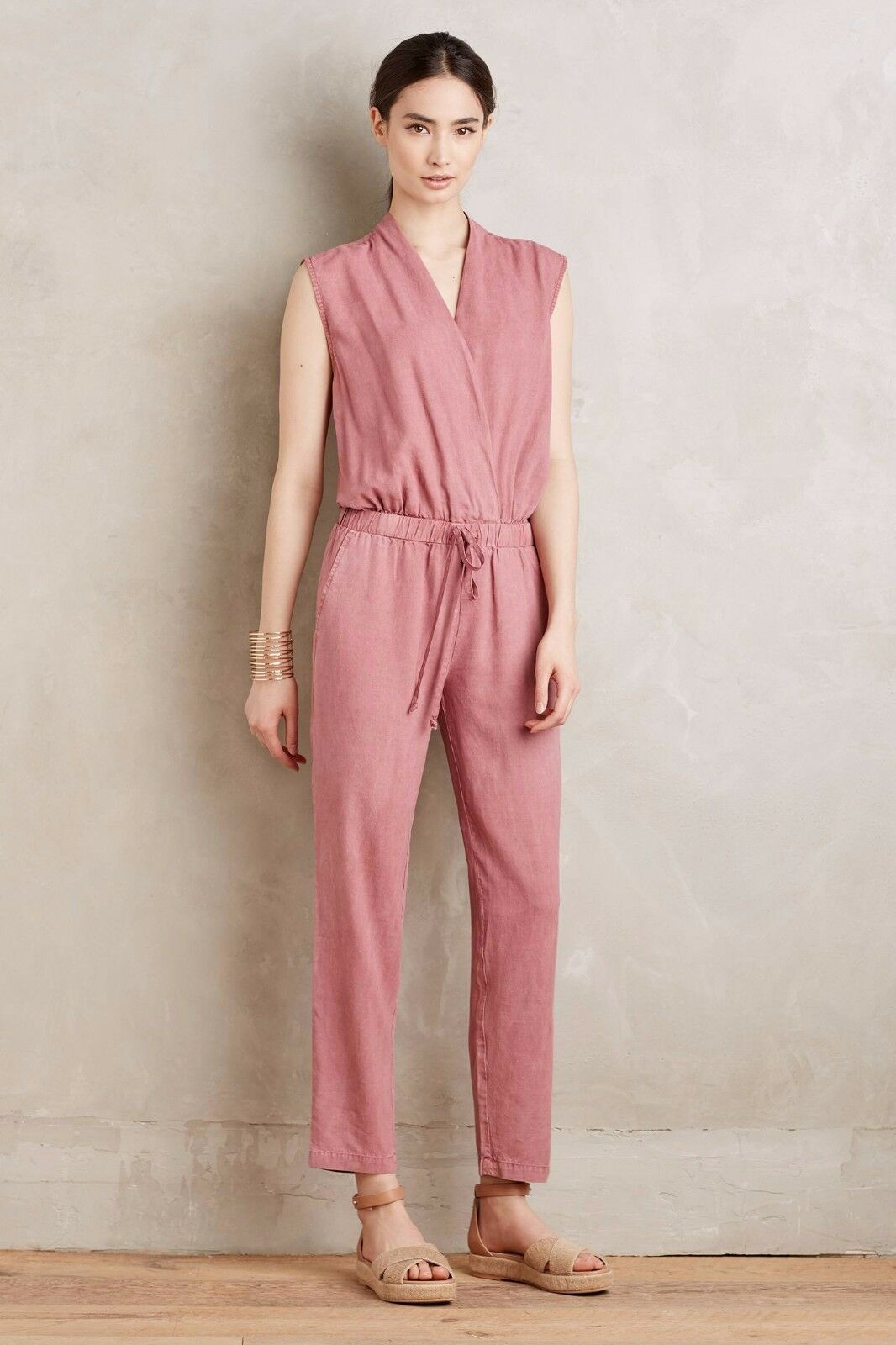 NWoT Anthropologie Cloth & Stone Amara Mignon in Pink Cross Front Jumpsuit XL