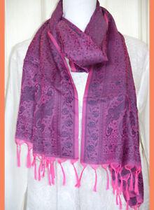Banaras-Silk-Magenta-Color-Woven-Paisley-Floral-Design-Stole-Wrap-Shawl