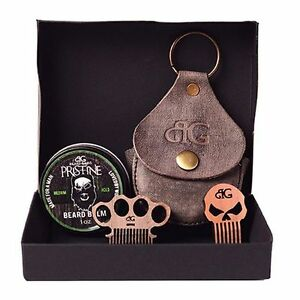 BEARD-BALM-KIT-W-MINI-PUNISHER-OR-BRASS-KNUCKLE-METAL-BEARD-COMB-amp-LEATHER-CASE