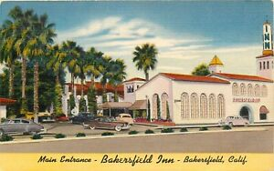 Linen-Postcard-CA-Da042-Entrance-Bakersfield-Inn-Hotel-Motel-ca1940s-Old-Cars