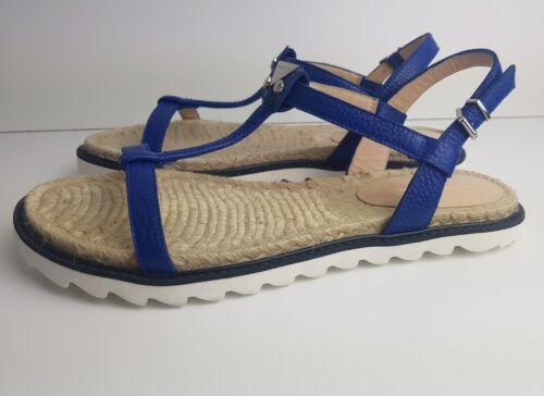 400 Cuir Uk Pour £ Taille Emporio Beach En Rrp Armani Luxury 40 Femmes Sandales 7 Eu Blue xCtUnqan4w