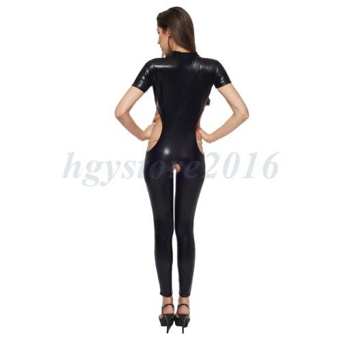 Femmes Cuir Verni Open Bra Cupless entrejambe catsuit body combinaison BDSM