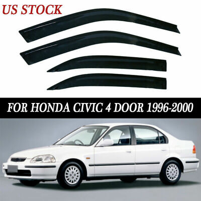 ABS Smoke Window Visor Vent Wind//Rain Deflector FIT Honda Civic 4 Dr 1996-2000