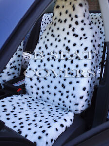 SKODA-FABIA-CAR-SEAT-COVERS-DALMATIAN-FURRY-FAUX-FUR-FULL-SET-SBFCS004