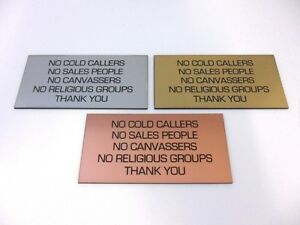Engraved-Brushed-Metal-Effect-Plaque-Sign-100x50-No-Cold-Callers-Sales-Religious