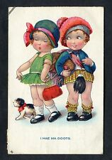 "Comic - Illustrated Boy in Kilt. ""I HAE MA BOOTS"" Stamp/Postmark - 1932"