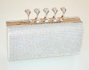 POCHETTE-donna-BORSELLO-CRISTALLI-bag-ARGENTO-elegante-STRASS-cerimonia-5N
