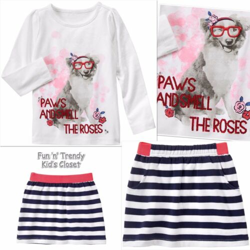 NWT Gymboree BEST IN SHOW Girls Size 5 6 Dog Tee Shirt Top /& Skirt 2-PC OUTFIT