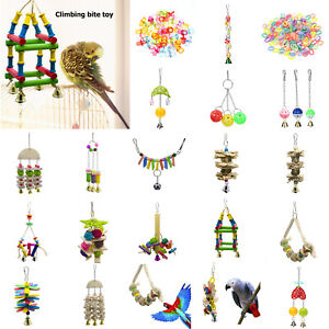 Parrot-Toys-Cockatiel-Bird-Chew-Bite-Climb-Swing-Bells-Hanging-Cage-Toy-DIY-Gift