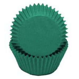 """500x  2.0'' base  1 1/4"""" Wall Paper Cupcake Muffin Liners, Baking Cups Green"""