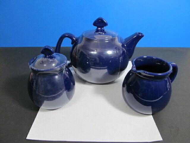 CHANTAL COBALT Blau CERAMIC TEA SERVICE SET,4 CUP TEA POT,10oz SUGAR & CREAMER
