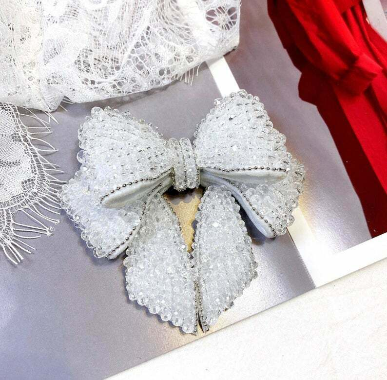 2 Pcs Pink Black White Beaded Beads Wedding Bow Bowknot Shoes Shoe Clips