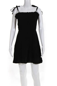 Honorine Womens Linen Spaghetti Strap A Line Poppy Dress Black Size Small