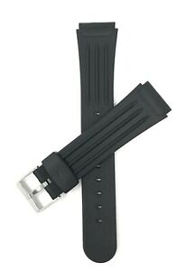 Bandini Black Rubber Sports Watch Band Strap, Ribbed, 2 Spring Bars,18mm & 20mm
