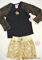 Lipstik Girls Black Gold Sequin Top Shorts Outfit Set Sz 4 Pageant Dance