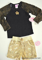 Lipstik Girls Black Gold Sequin Top Shorts Outfit Set Sz 4 Pageant Dance
