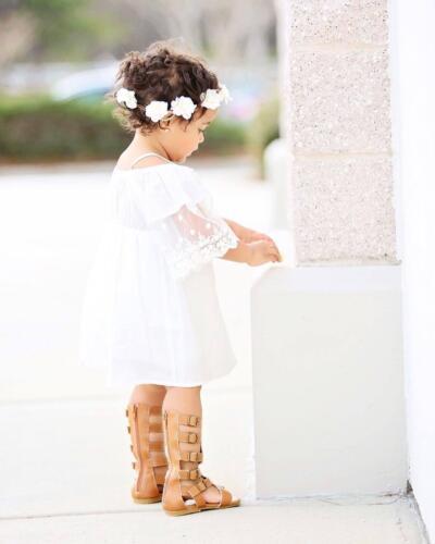 Marina bébé fille en coton /& dentelle Robe D/'été Vintage Off épaule Top Beachwear 1-4