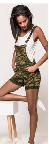 New Dungarees woman camouflage overall Mini suit twist skinny camouflage UK 8-14