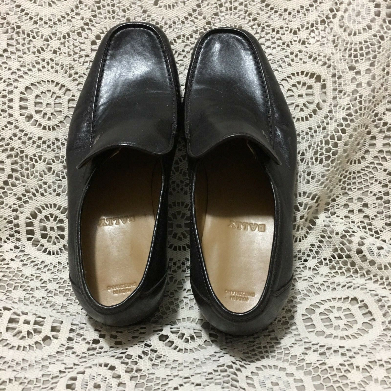 BALLY MADE IN SWITZERLAND MENS DARK BROWN LEATHER LOAFERS SIZE EU 4.5,US 5.5