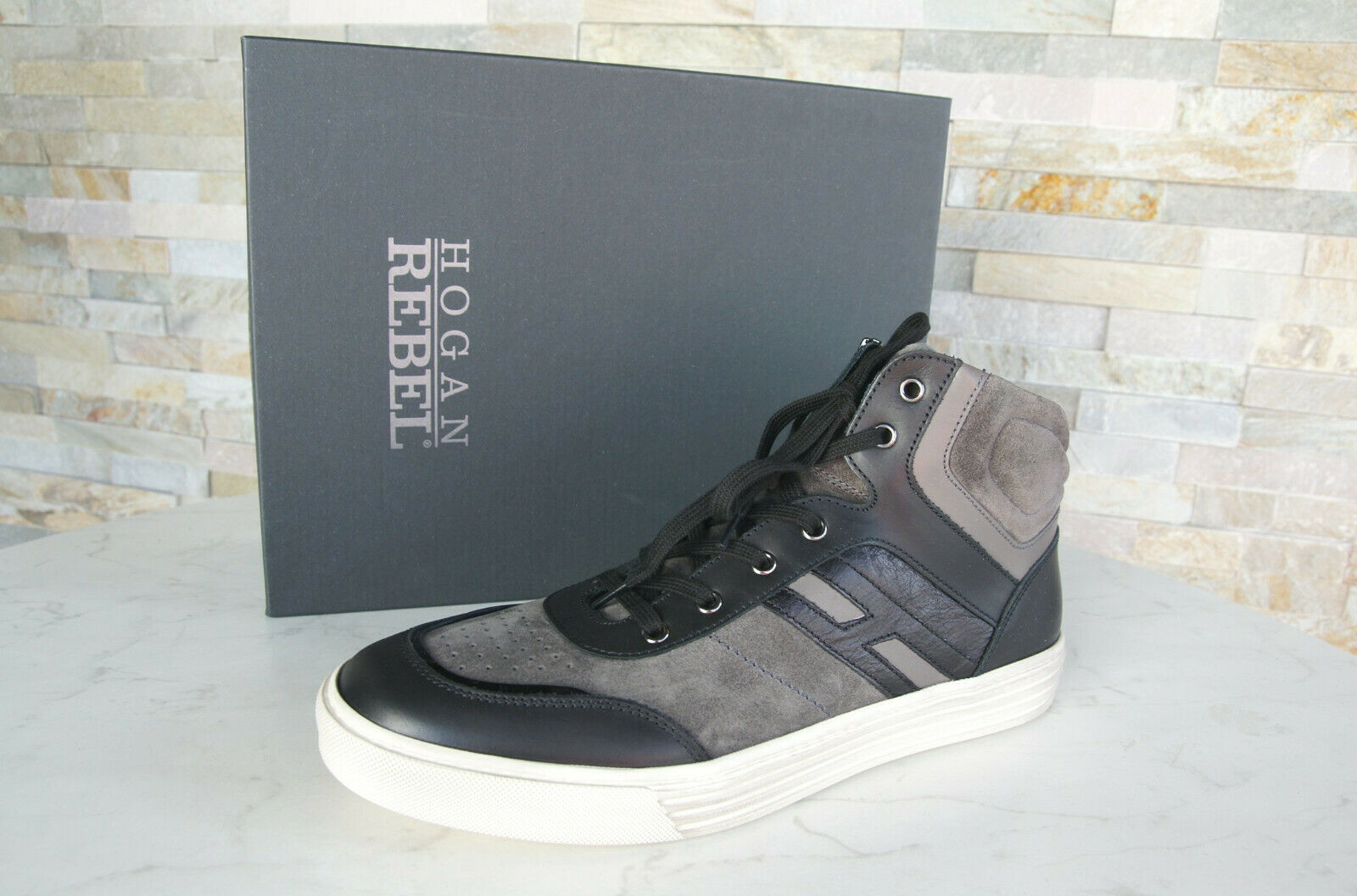 Hogan 9,5 44 High Top Sneakers Laces New shoes Grey Black Formerly Rrp