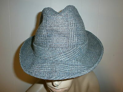 Vintage Dobbs Cappello Fedora Grigio Tweed 5th Quinto Avenue New York City Rafforzare L'Intero Sistema E Rafforzarlo