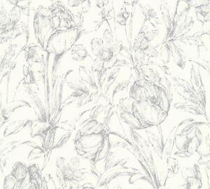 Vliestapete-Floral-Blume-weiss-grau-glanz-32985-3-Memory-3