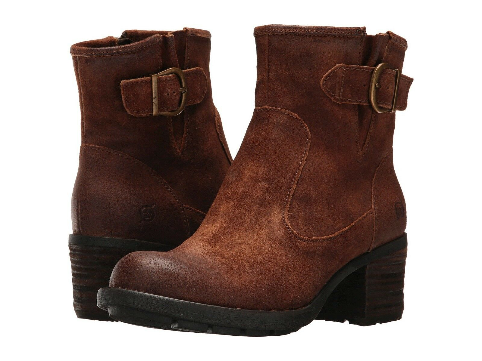 Women's Born ZipOn Chunkky Boot Gunn Rust Tobacco Distressed F30926