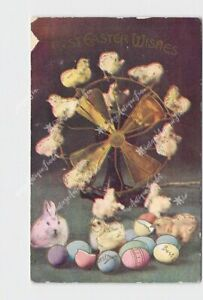 PPC-POSTCARD-EASTER-WISHES-CHICKS-ON-EMERSON-FAN-WITH-BUNNIES-AND-EGGS