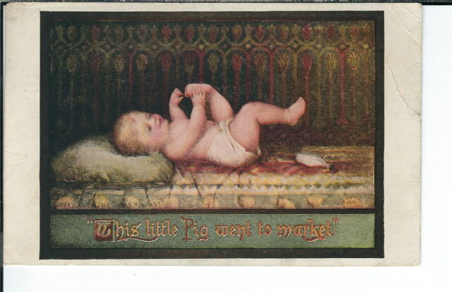 AX-198 This Little Pig, Artist Signed, Golden Age 1907-1915 Postcard