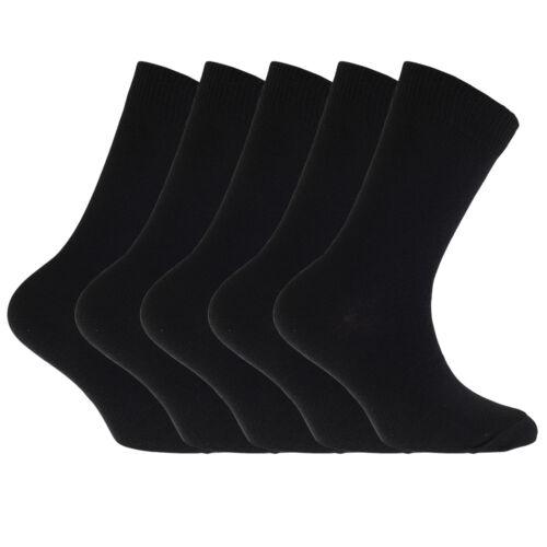 K339 FLOSO Childrens//Kids Plain School Socks Pack Of 5