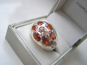 AMAZING-STERLING-SILVER-OVERSIZED-BRIGHT-STONE-CLUSTER-RING-UNUSUAL-RARE-SIZE-P