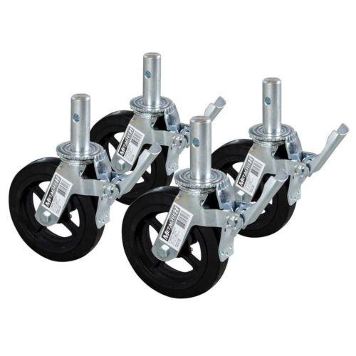 Scaffold Caster Wheel Heavy Duty Double Lock Weather Resistant Cast Iron 4-Pack