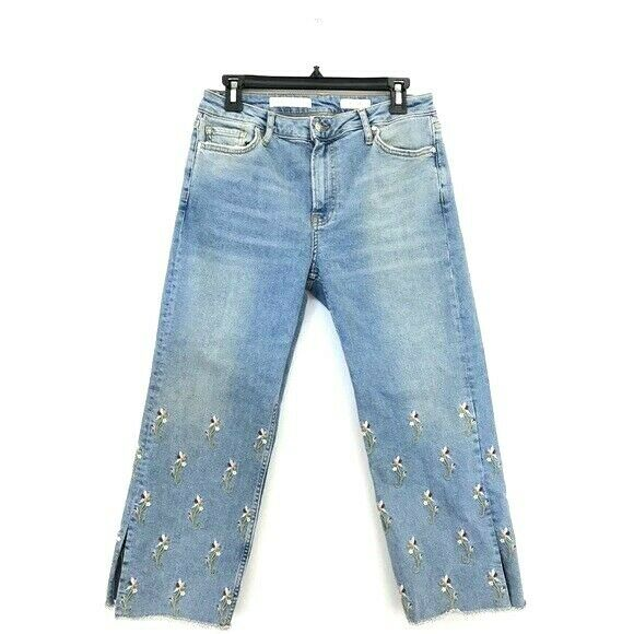 Anthropologie Pilcro Floral Embroidered High Rise Straight Relaxed Jeans Size 28