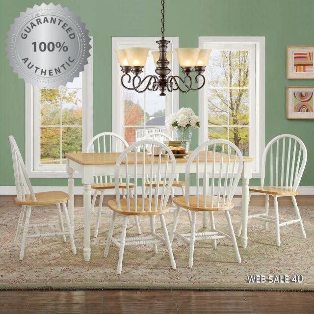 Dining Table Set For 6 Fine Farmhouse Room Natural White Oak Wood Windsor Chair For Sale Online Ebay
