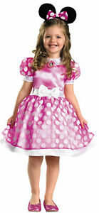 Pink-Minnie-Mouse-Classic-Child-Girls-Costume-White-Bow-Fancy-Dress-Disguise