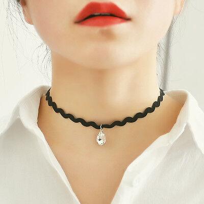Vintage Retro Black Velvet Crystal Charm Pendant Choker Necklace Gothic Jewelry