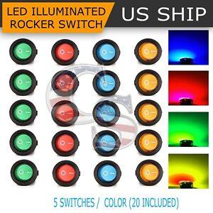 5pcs DC 12v Car Dot Auto Boat Round Rocker Red LED Light SPST Switch On-off for sale online